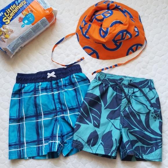 4574ff9646 Toddler boy swim trunks hat 18 months 24 2T. M_5c4df9dfaa5719887961beb7